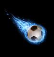 flying soccer ball with blue fire trails sports vector image vector image