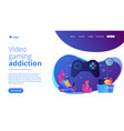 gaming disorder concept landing page vector image