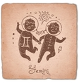 Gemini zodiac sign horoscope vintage card vector image