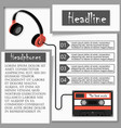 headphones and audiocassette infographics vector image vector image