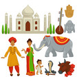india travel culture symbols architecture and vector image