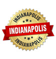 Indianapolis round golden badge with red ribbon vector image vector image