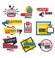 latest news isolated icons tv and radio broadcast vector image