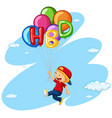 little boy flying with balloons vector image vector image