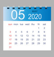 may 2020 monthly calendar template 2020 vector image