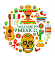 mexican attributes on white background vector image vector image