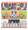 modern cafe or bar interior and summer terrace set vector image