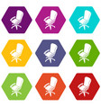 office chair wheel icons set 9 vector image vector image