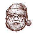 portrait of happy santa claus sketch christmas vector image