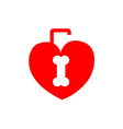 Red heart shaped lock with a bone shaped keyhole vector image