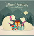 retro christmas card with polar bears family vector image vector image