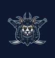 samurai panda esport gaming mascot logo template vector image