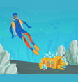 scuba diver found open treasure chest gold at vector image vector image