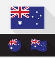 set australia flag flat design vector image