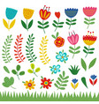 set isolated flowers and plants vector image vector image