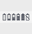 set of battery black symbol charge indicator vector image vector image