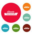 ship trip icons circle set vector image vector image