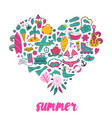 summer heart design made of doodle season elements vector image