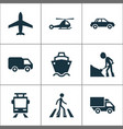 transportation icons set with cargo ship airplane vector image vector image