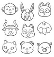 various animal style hand draw doodles vector image vector image