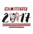 Red rooster or cock symbol of 2017 year Hand vector image