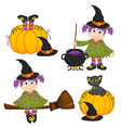 set of isolated Halloween witch and black cat vector image