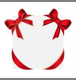 shiny red satin bows and red bow with yellow lines vector image