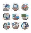 School routine flat color icons set vector image