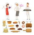 bakers male and female at work characters vector image