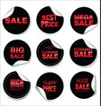 black sale stickers collection vector image
