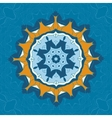 Blue and brown mandala ornament over symmetry vector image vector image