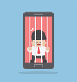 Businessman locked in smartphone vector image vector image