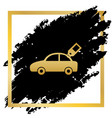 car sign with tag golden icon at black vector image vector image