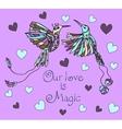 Cartoon colored tropical bird vector image