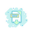 cartoon colored wav file icon in comic style wav vector image vector image