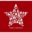 Collection of star silhouette christmas elements vector image vector image