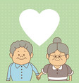 color dotted background card with elderly couple vector image vector image