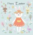 cute cartoon rabbit bunny wear cute dress happy vector image