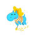 cute winged hippo flying with a magic wand vector image vector image