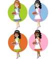 Cute young woman with homemade cake set on simple vector image vector image