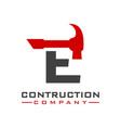 e letter construction logo design vector image vector image