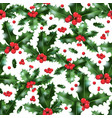 festive holly pattern vector image vector image