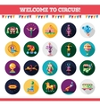 Flat design circus icons and infographics elements vector image
