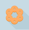 flower biscuit icon flat style vector image vector image
