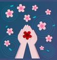 flowers floating in water flower in hand vector image