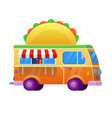 food truck traditional mexican taco vehicle icon vector image vector image