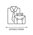 formal clothing and briefcase linear icon vector image