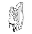 girl plays on harp engraving vector image vector image