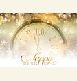 gold happy new year with clock design vector image