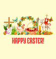 happy easter day greeting banner design vector image vector image